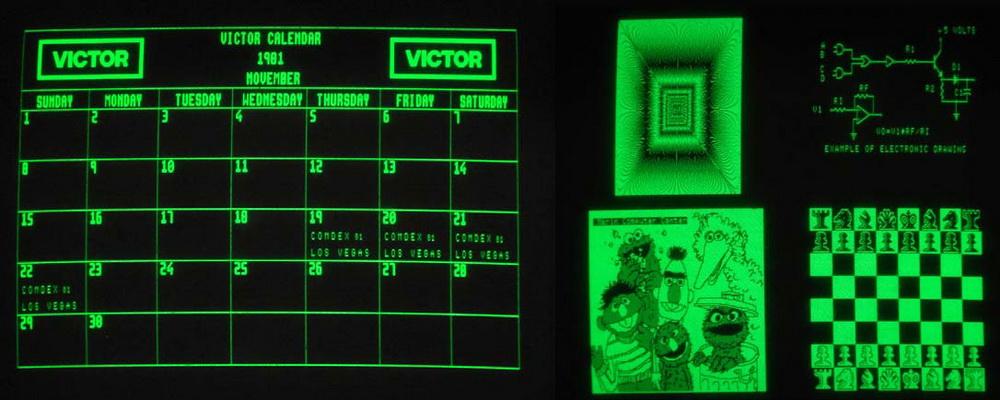 Δείγμα των γραφικών υψηλής ανάλυσης του Victor 9000, στην παρουσίαση του στην COMDEX του 1981.